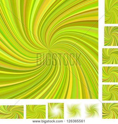 Vector spiral design background set. Different color, paper size versions.