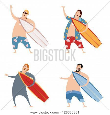 Vector image of the set of surfers