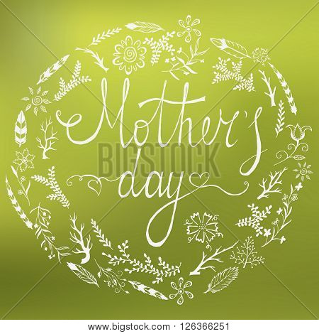 Mothers Day Card. Motherss Day  lettering. Hand drawn doodle card for Mathers Day. Vector Illustrtion