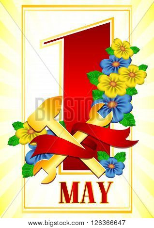 Postcard for holiday of Spring and Labor. Mayday. 1 may with branch of flowers and gold work tools with red ribbon on light yellow background. Vector illustration