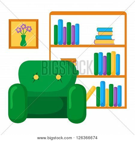Vector bookcase and armchair illustration. Library interior: bookcase armchair and picture. Library room furniture design. Cabinet interior. Bookstore concept with bookcase armchair