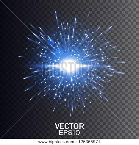 Blue vector explosion, Star burst with sparkles, Glow light effect. Vector illustration on transparent background EPS10