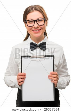 Businessman Holds And Shows A Clean Sheet For An Inscription
