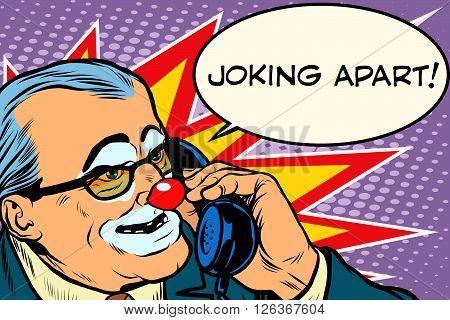 evil clown boss joking apart pop art retro style. Prank call