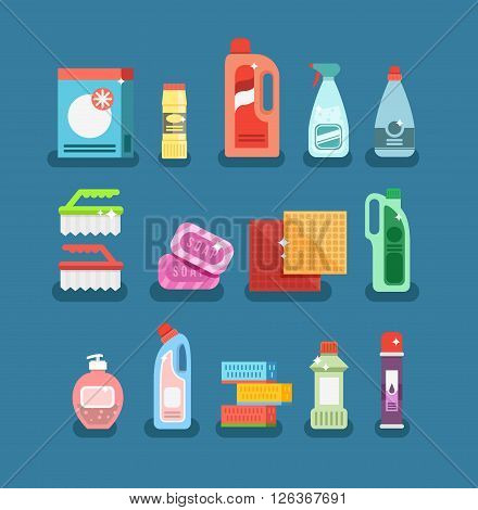 Cleaning tools vector set. Detergents for cleaning home or hotel. Cleaning products. Clean service vector icon.
