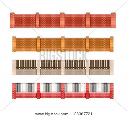 Fence vector illustration Brick fence and wood fence
