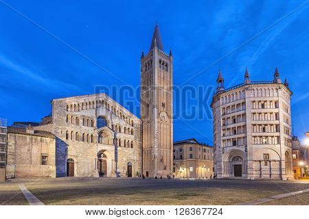 Cathedral and Baptistry located on Piazza Duomo in Parma Emilia-Romagna Italy