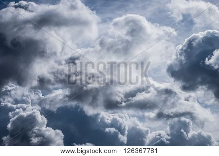 Natural storm clouds. Dramatic sky with stormy clouds for background.
