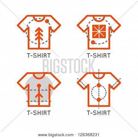 Vector t-shirt logo set. Online shop logo. Clothing shop vector icon. T-shirt outline design. Online store icon.