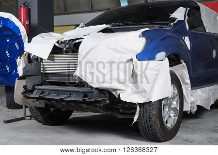 Auto body repair series : Masked truck before repaint