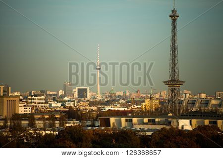 Skyline of Berlin with TV tower in evening sunlight