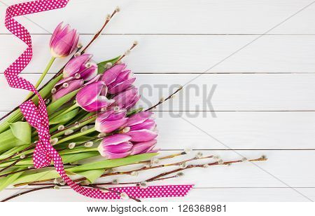 Easter Bouquet. Pink Tulips And Willow Branch Decorated With Ribbon. Top View, Copy Space