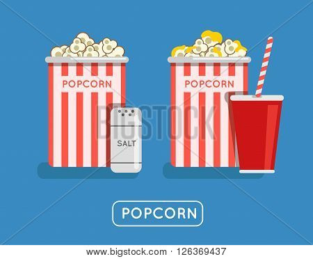Popcorn food vector illustration. Popcorn in bucket. Big popcorn box. Salt popcorn. Caramel popcorn. Popcorn pack vector icon. Popcorn in cinema.