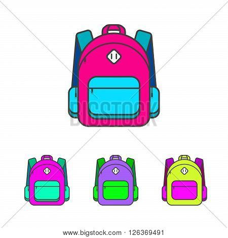 School bag vector illustration. Colorful school bag vector icon. School bag for student. Trend lines design schoolbag. School bag for books.