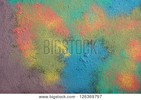 Powder of colored chalk. Natural close-up detailed color texture for background.