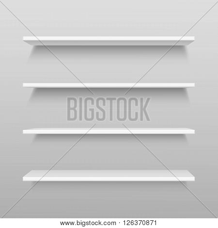 White Empty Shelf Shelves Isolated on Wall Background