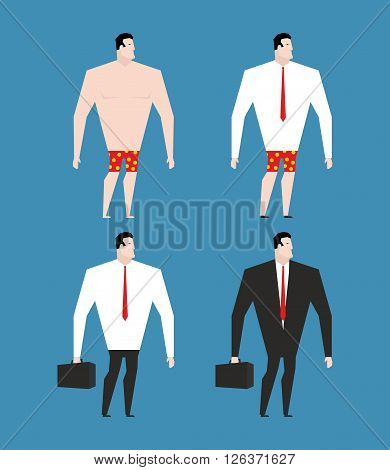 Businessman In  Business Suit And Briefcase. Set Man In Clothes And Naked. Rustler In Shorts