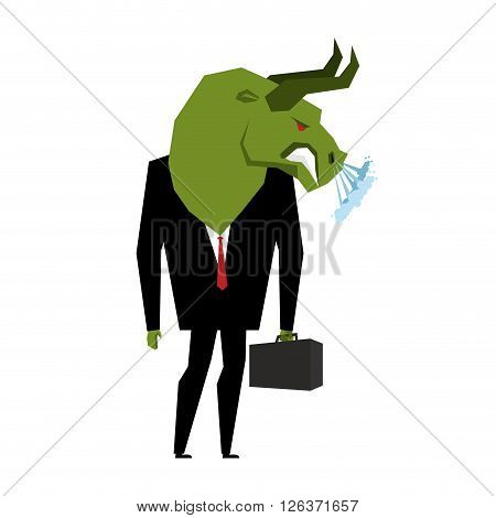 Businessman Bull. Player On Stock Exchange With Head Of Green Bull. Farm Animal With Briefcase And T