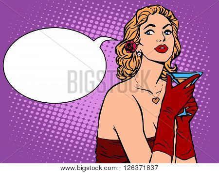 Beautiful woman in red with a drink pop art retro style. Alcoholic drink. Party celebration holiday. Beautiful girl vector illustration