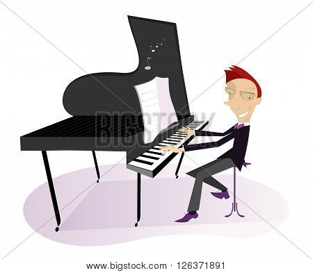 Pianist. Smiling pianist is playing music illustration