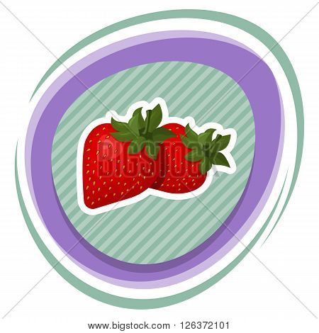 Strawberry colorful icon. Fresh red strawberry for cute design