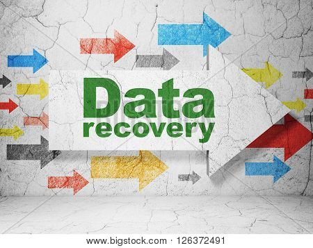 Information concept: arrow with Data Recovery on grunge wall background