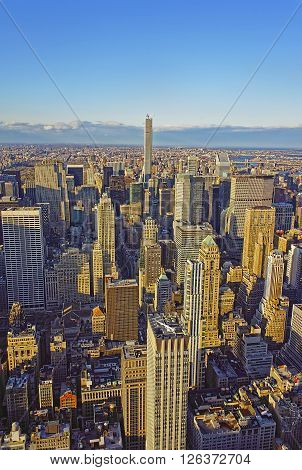 NEW YORK USA - APRIL 25 2015: Aerial view from Observatory deck of the Empire State Building on Midtown Manhattan New York USA.