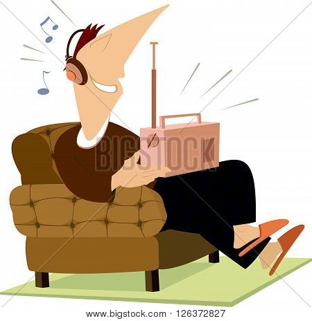 Smiling man sits in an armchair and listens the radio