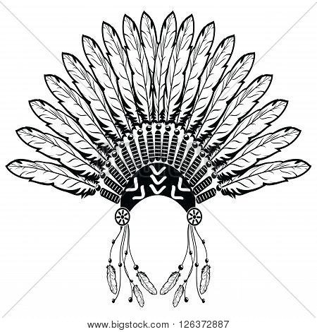 Aztec, ethnic style headdress with plain feathers, beads symbolizing native American tribes and warrior culture in black and white with decorative ornaments