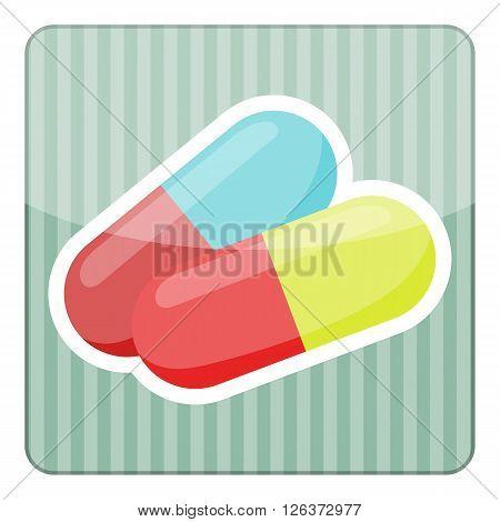 Colored vitamin pills icon medical drugs cartoon vector illustration
