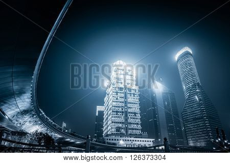 night view of pudong district