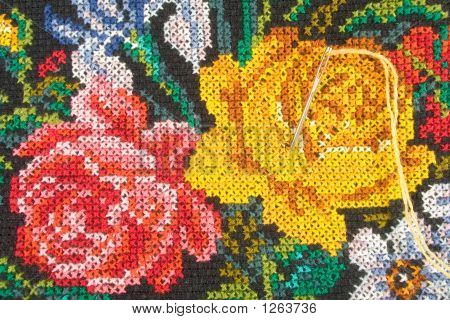 Roses And Needle With Thread