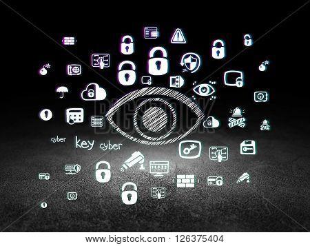 Security concept: Eye in grunge dark room