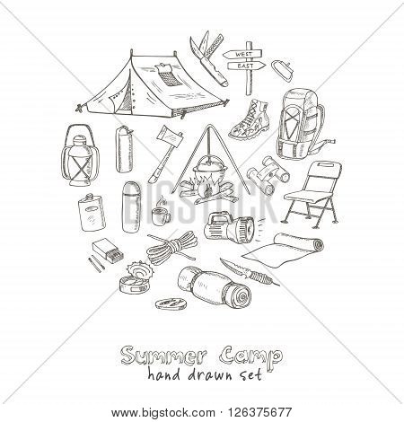 Set of hand drawn camping equipment drawings. Sketches. Hand-drawing. Vector illustration of for design and packages product. Vector Illustration.