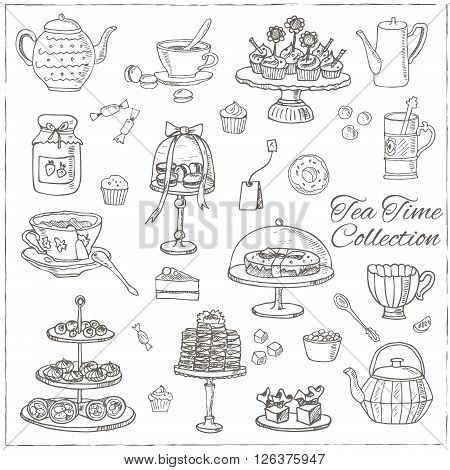 Tea time  doodle set. Sketch. Tea bag, mugs, cupcake, macaroon and muffin. Hand drawn spa items collection. Vector illustration  for design menus, recipes and packages product.
