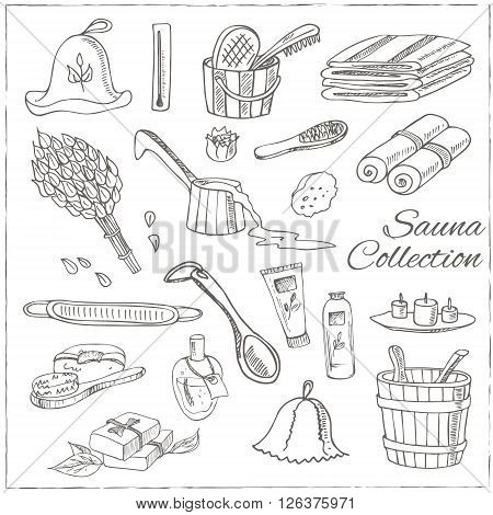 Sauna accessories doodle set. Sketch. Hand drawn spa items collection. Vector illustration  for design menus, recipes and packages product.