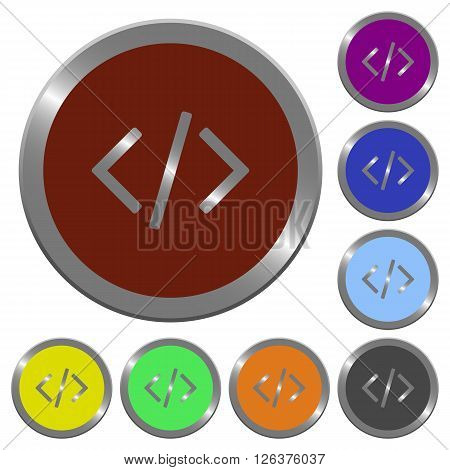 Set of color glossy coin-like programming code buttons.