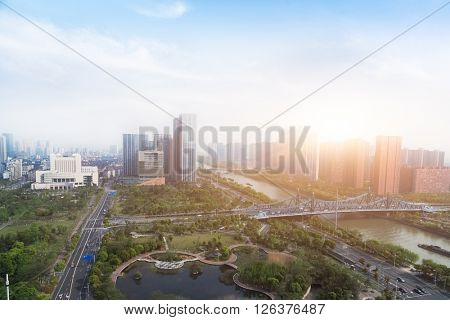 cityscape under sunlight,shanghai.