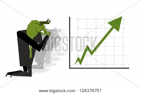 Green Bull Prays On  Rate Increase On Stock Exchange. Green Arrow Up. Worship Of Money. Prayer Quote