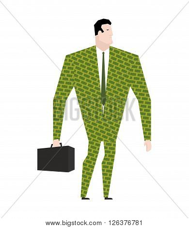 Businessman In Suit Of Dollars. Money Clothing. Trendy Office Plankton. Boss On White Background. Ma