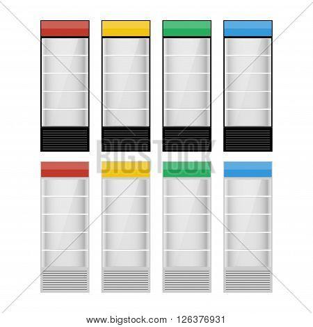Fridges with glazed door on white background