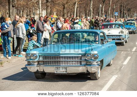 NORRKOPING, SWEDEN - MAY 1: Cadillac 1963 at the classic car parade celebrates spring on May 1, 2013 in Norrkoping. This parade started in 1974 and has become an annual tradition in Norrkoping on May 1.