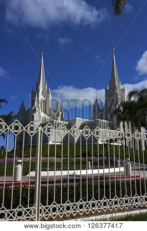 Beautiful Mormon temple in San Diego,California, Usa.