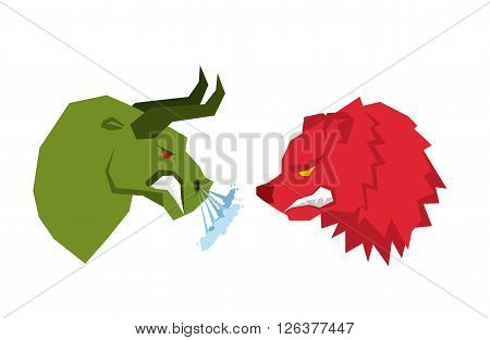 Red Bear And Green Bull. Traders On Tock Exchange Symbols. Confrontation Businessmen. Allegory Illus
