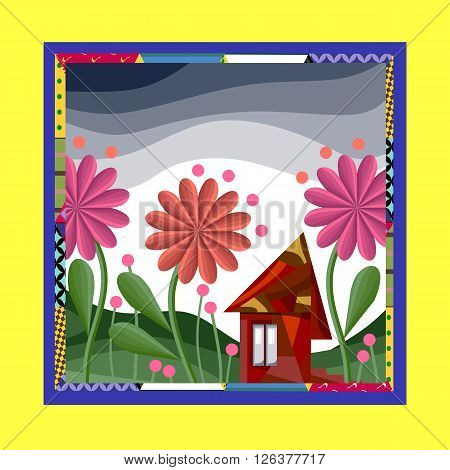 Fairy house surrounded by flowers. Bandana print or silk neck scarf. Square pattern design style for print on fabric. Fantasy vector illustration in bright ornamental frame.