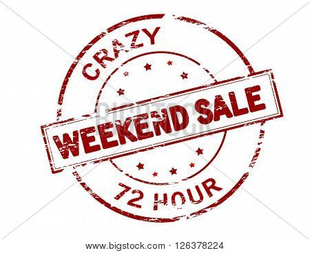 Rubber stamp with text crazy weekend sale inside vector illustration