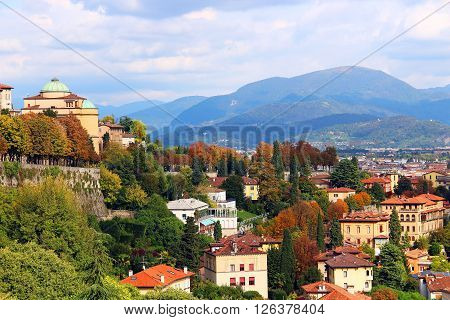 View of Bergamo lower town from upper old town, Italy