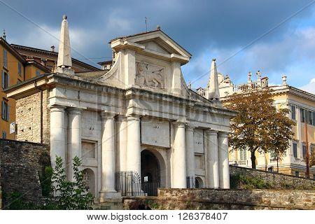 Saint Giacomo Gate (Porta San Giacomo) - entrance to the upper city of Bergamo, Italy