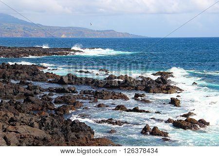 Atlantic ocean coast on Sao Miguel island, Azores archipelago, Portugal