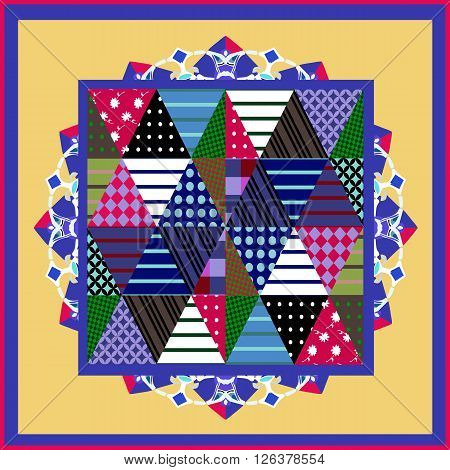 Bright bandana print with patchwork pattern. Abstract geometric silk neck scarf. Kerchief square pattern design style for print on fabric. Vector illustration.